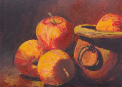 Still Life: Apples and Pot