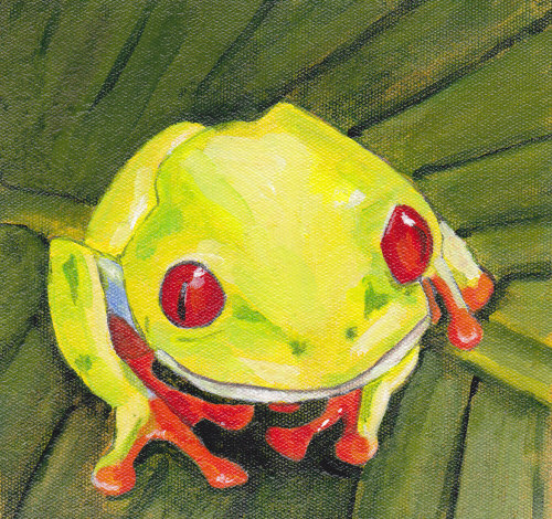 Frog on polyester canvas
