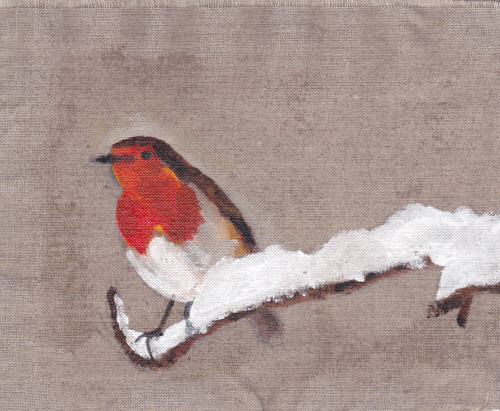Robin on Unprimed Linen