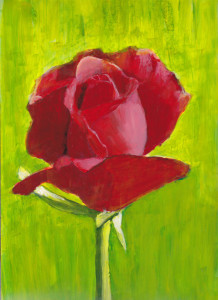 Red Rose Painting on Yupo