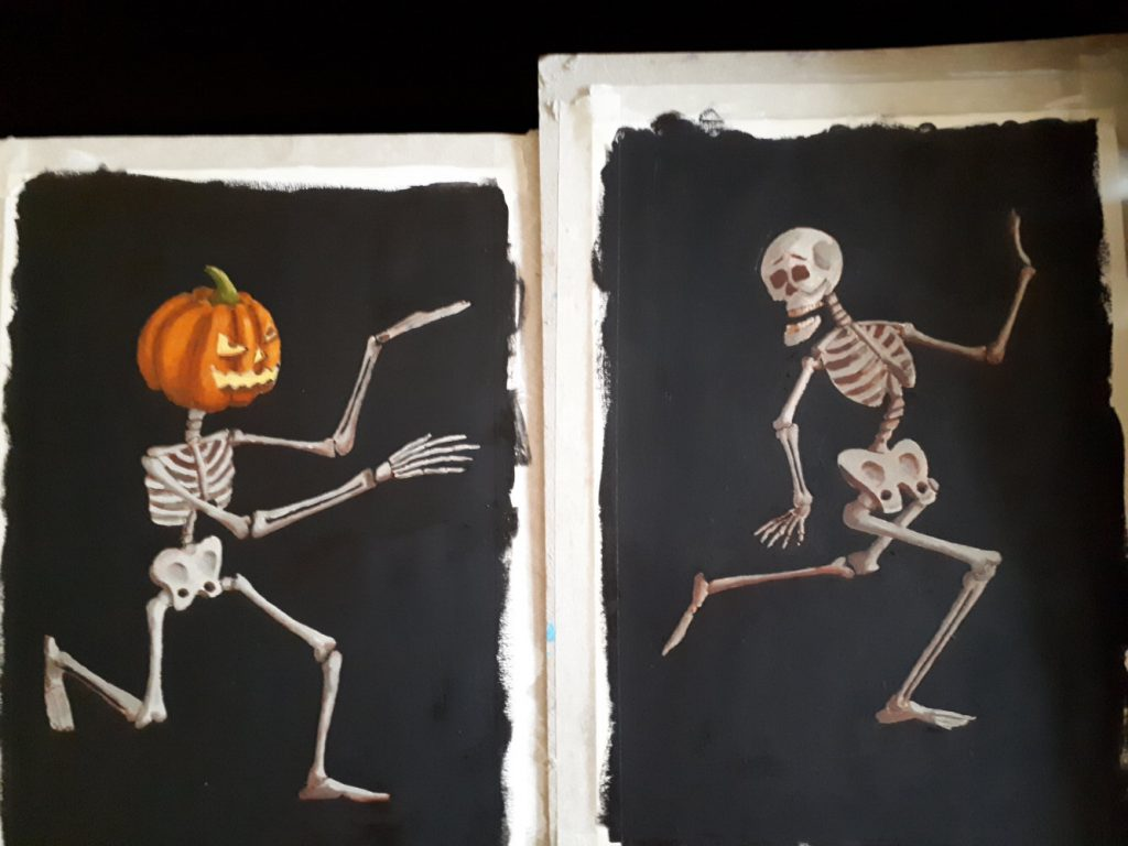 Halloween Skeletons in Oil