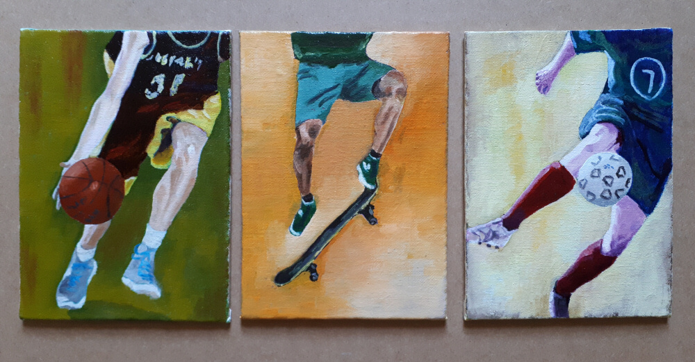 Sport Players in Oil on Canvas Panel