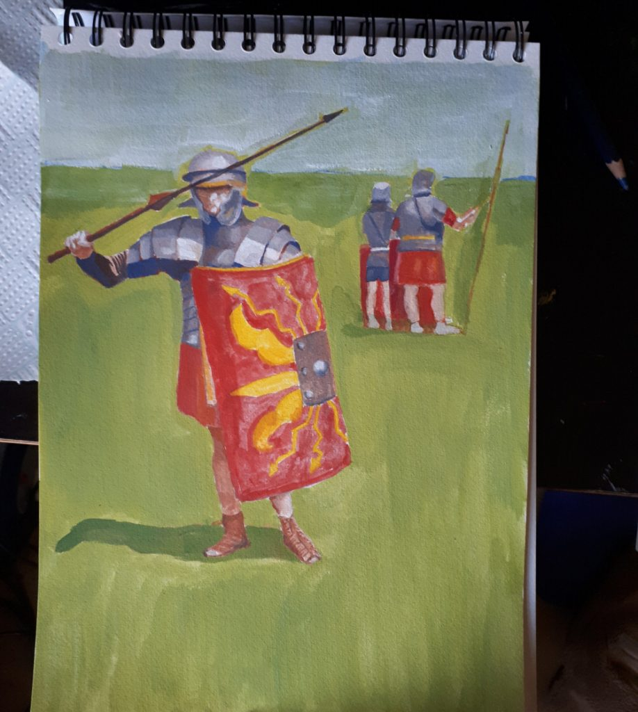 Roman Legionaries casein painting first few layers of paint