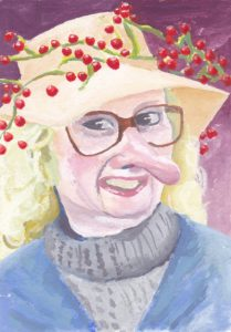 Caricature of Woman in Berry Hat