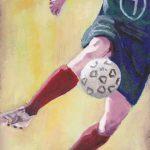 Footballer Oil on Canvas Panel