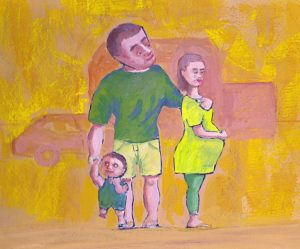 Painting of a young family in casein.
