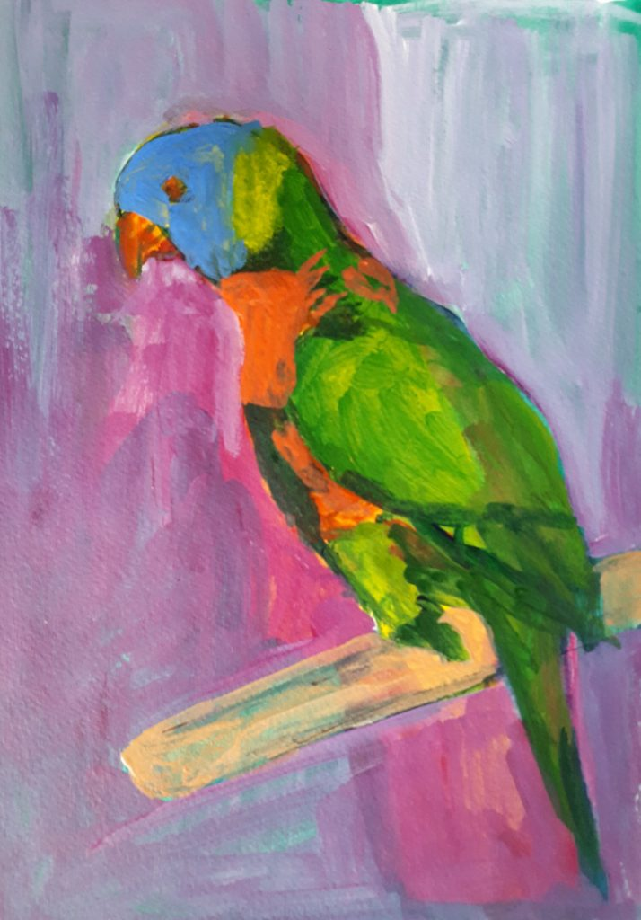 Parrot painted in acrylics for 'Draw a bird Day' - Initial stages.