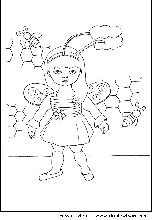 Miss Lizzie B. Colouring Page