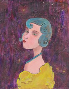 Lady With Blue Curls and Pearls