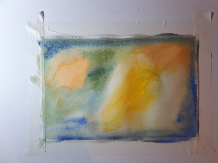 Watercolour paper attached to board showing buckling