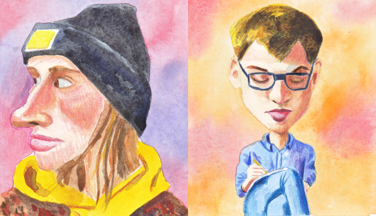 A Couple of Watercolour Caricatures