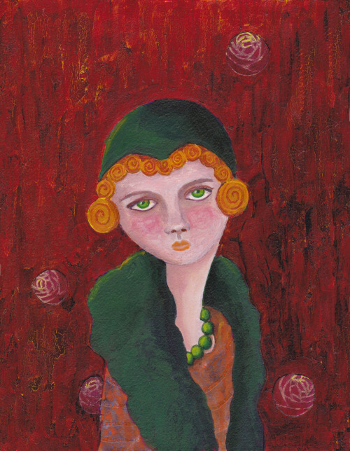 Mixed Media Lady with Orange Curls and Green Pearls