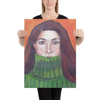 Green Turtleneck Canvas Print Wall Art