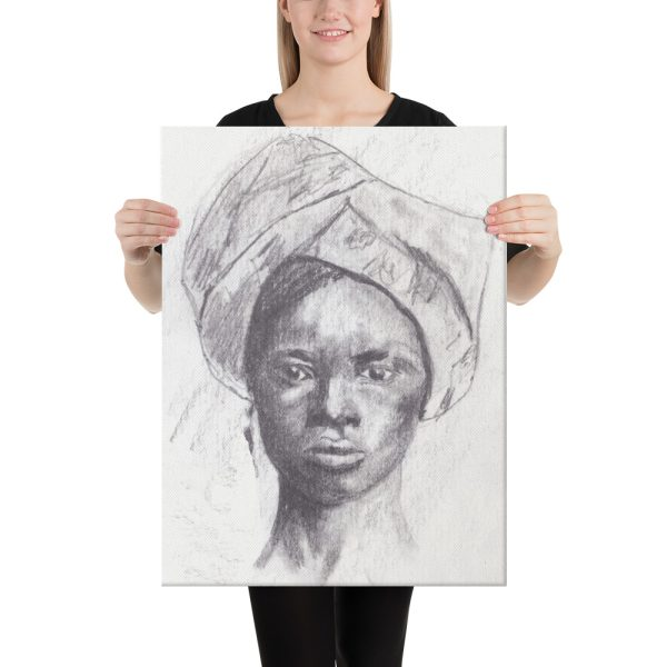 African Woman in Head Tie Canvas Print Wall Art
