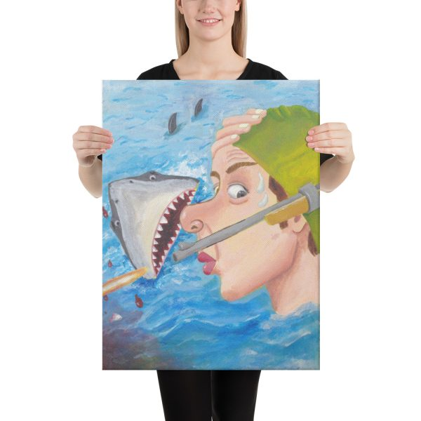 Whew Shark Shock Canvas Print Wall Art