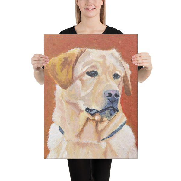 Dog on Orange Background Canvas Print Wall Art