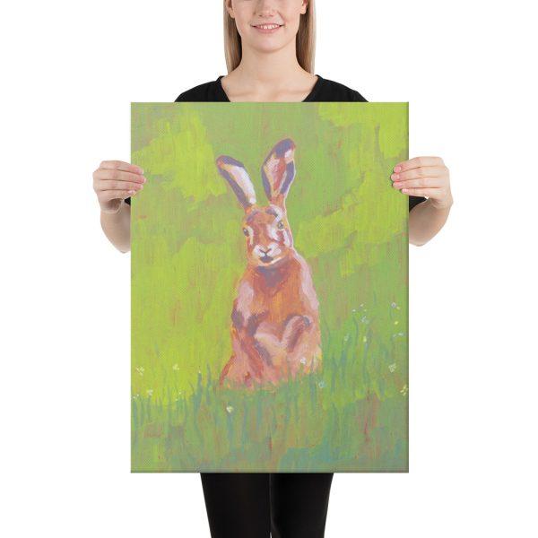 Red Rabbit in Green Grass Canvas Print Wall Art