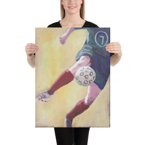 Footballer in Red Socks Canvas Print Wall Art
