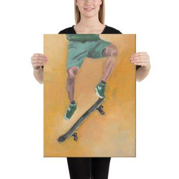 Skateboarder in Green Canvas Print Wall Art