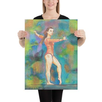 Gymnast on Beam Canvas Print Wall Art
