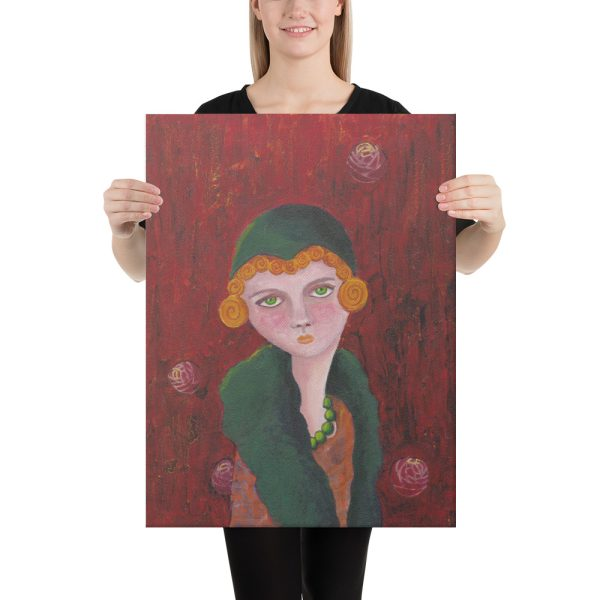 Lady with Orange Curls and Green Pearls Canvas Print Wall Art