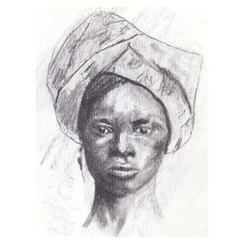 African Woman in Head Tie, Portrait Painting, Poster Print Wall Art