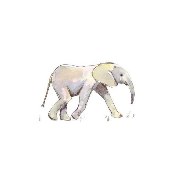 Baby Elephant in Pastel Poster Print Wall Art