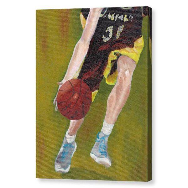 Basketball Player and Ball Canvas Print Wall Art