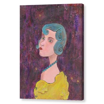Lady with Blue Curls and Pearls Canvas Print Wall Art