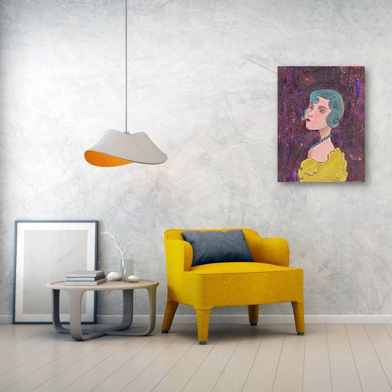 Lady with Blue Curls Canvas Wall Art
