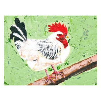 Cockerel on Green Painting Poster Print Wall Art