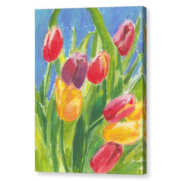 Colourful Tulips Canvas Print Wall Art 12x16