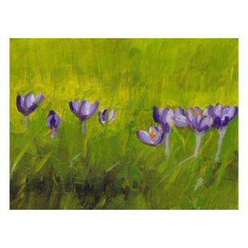 Crocus Flowers in Grass Painting Poster Print Wall Art