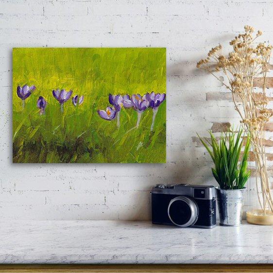 Crocus Flowers in Grass Art Print
