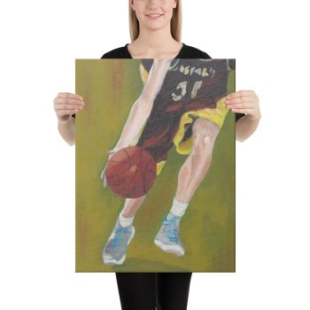 Basketball Player and Ball Canvas Print Wall Art