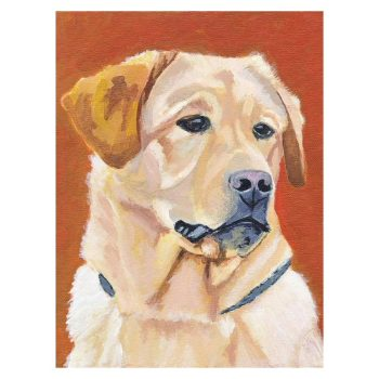 Dog on Orange Background Poster Print Wall Art