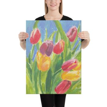Colourful Tulips Canvas Print Wall Art