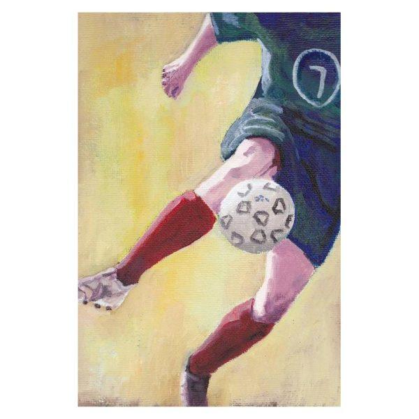 Footballer in Red Socks Poster Print Wall Art