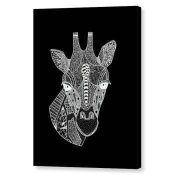 Giraffe Head Zentangle Doodle Canvas Print Wall Art