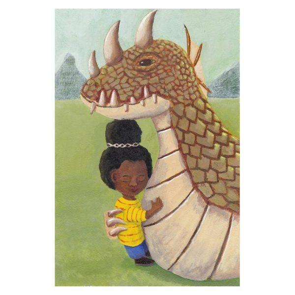Girl and Guardian Dragon Poster Print Wall Art