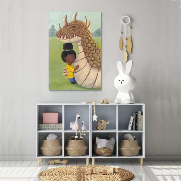 girl and guardian dragon canvas wall art