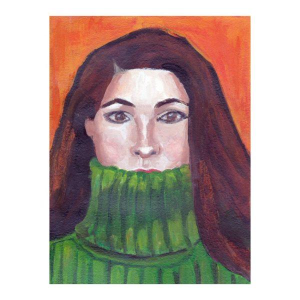 Green Turtleneck, Portrait Painting, Poster Print Wall Art