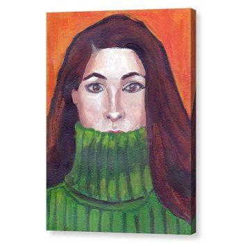Green Turtleneck Canvas Print Wall Art