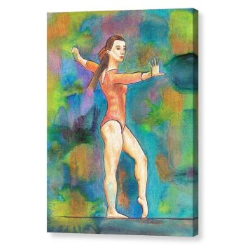 Gymnast on Beam Canvas Print Wall Art 12x16