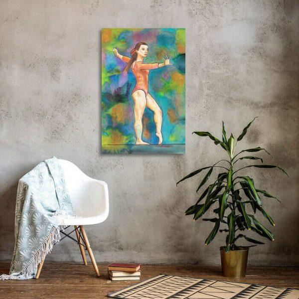Gymnast on Beam Canvas Print Wall Art