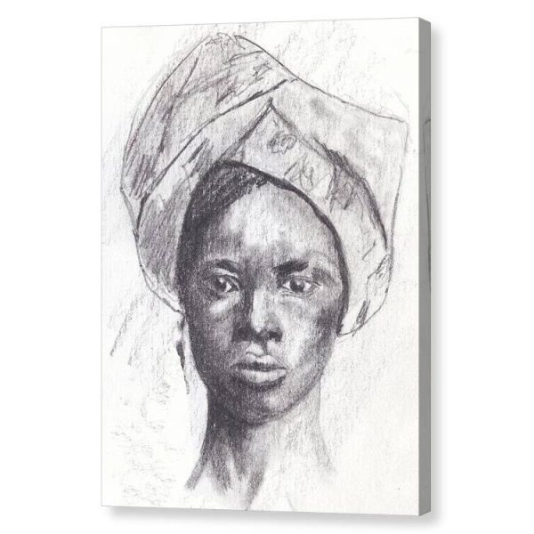 African Woman in Head Tie Canvas Print Wall Art