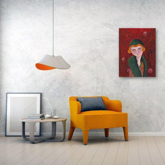 Lady with Orange Curls Canvas Wall Art