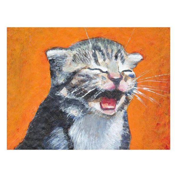 Cute Laughing Kitten Poster Print Wall Art