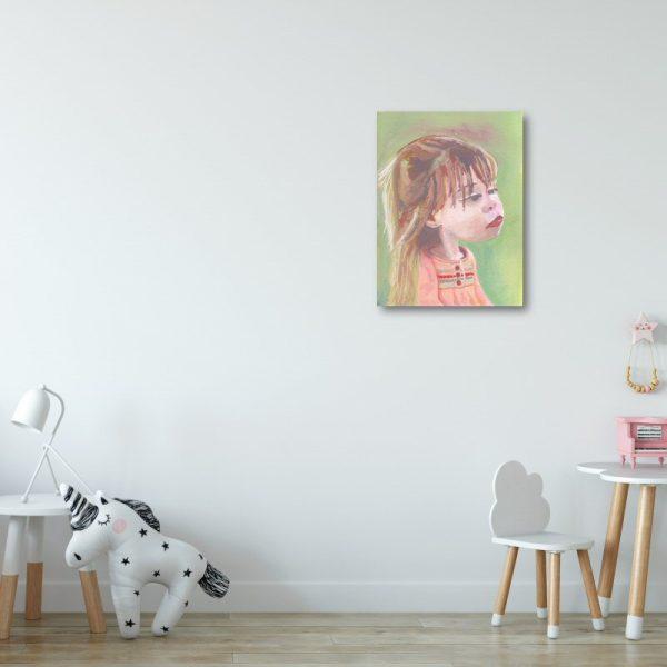 Little Girl in Pink Dress Canvas Print Wall Art