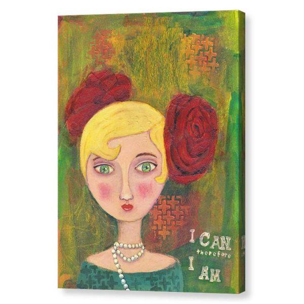 Mixed Media Lady Canvas Print